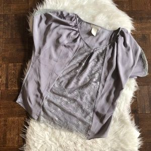 MM Couture Miss Mee Medium Gray Blouse Lace Dolman